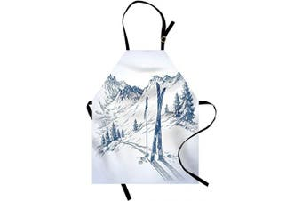(White Blue) - Ambesonne Winter Apron, Sketchy Graphic of a Downhill Ski Elements in Snow Relax Calm View, Unisex Kitchen Bib with Adjustable Neck for Cooking Gardening, Adult Size, White Blue