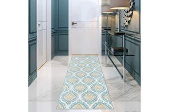 (0.6m X 2.1m, 512-blue and Cream) - Antep Rugs Kashan King Collection Polypropylene Indoor Area Runner Rug (Blue/Cream, 0.6m x 2.1m)