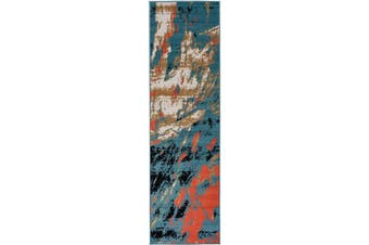 (0.6m X 2.1m, 0666a Multi Blue) - Antep Rugs 666BLU Pastel Collection Contemporary Polypropylene Indoor Area Runner Rug (Multicolor Blue, 0.6m x 2.1m)