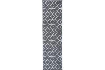 (0.6m X 2.1m, 507-grey and Cream) - Antep Rugs Kashan King Collection Trellis Polypropylene Indoor Area Runner Rug (Grey/Cream, 0.6m x 2.1m)