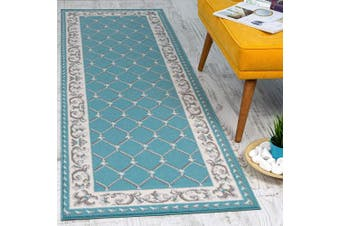 (0.6m X 2.1m, Ephesus - Blue/Gray) - Antep Rugs Kashan King Collection Ephesus Chequered Area Rug Runner (Blue/Grey, 0.6m x 2.1m)