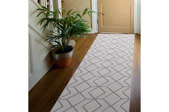 (0.6m X 2.1m, Cream / L.grey) - Antep Rugs Kashan King Collection Trellis Polypropylene Indoor Area Runner Rug (Grey/Cream, 0.6m x 2.1m)