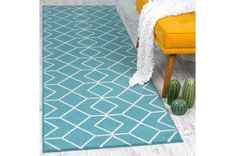 (0.6m X 2.1m, 507-blue and Cream) - Antep Rugs Kashan King Collection Trellis Polypropylene Area Runner Rug (Blue/Cream, 0.6m x 2.1m)
