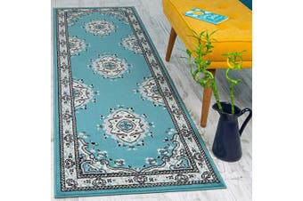 (0.6m X 2.1m, Blue and Cream) - Antep Rugs Kashan King Collection Himalayas Oriental Polypropylene Indoor Area Rug Runner (Blue/Cream, 0.6m x 2.1m)
