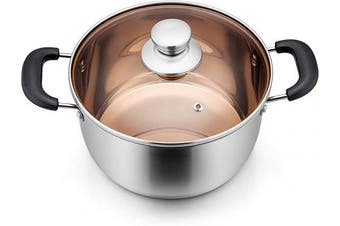 (5.7l) - 5.7l Pot, P & P CHEF 5.7l Stainless Steel Stockpot with Lid, Bakelite Heat-Proof Double Handles & Brown Glass Lid & Sliver Stainless Steel Pot, Dishwasher Safe