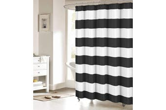 (Stall Long Size 140cm  x 200cm , Black and White) - ALAGO Nautical Stripe Design Shower Curtains Bathroom Accessories Fabric Decor Shower Curtain Set Black and White 54x78