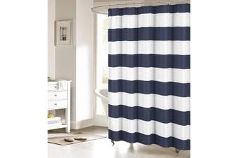 (180cm  x 180cm , Navy and White) - ALAGO Nautical Stripe Design Fabric Shower Curtain Curtains - Navy and White 180cm x 180cm …