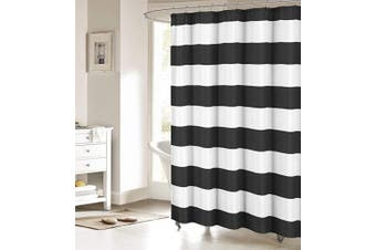 (90cm  x 180cm  Small Stall Size, Black and White) - Nautical Stripe Design Shower Curtains Bathroom Accessories Waterproof Fabric Decor Shower Curtain Set Black and White Small Stall Size 90cm x 180cm