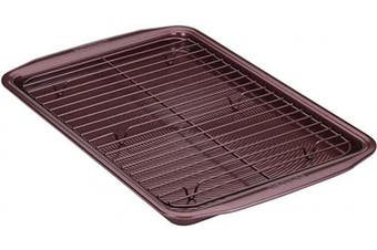 (2-Piece (Baking Sheet & Rack), Merlot Red) - Circulon 47887 Nonstick Bakeware Set, Nonstick Cookie Sheet / Baking Sheet with Cooling Rack - 2 Piece, Merlot Red