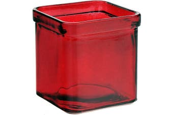 (Red) - Couronne Company, Red, Square Recycled Glass Candle Container, 7527G06, 8.5 oz, 1 Piece, 250ml