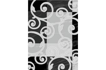 (0.6m x 2.1m, Silver5 - Black White) - Adgo Collection Contemporary Mediterranean Floral Curved Design Rubber-Backed Non-Slip Non-Skid Area Rugs, Black White, 0.6m x 2.1m