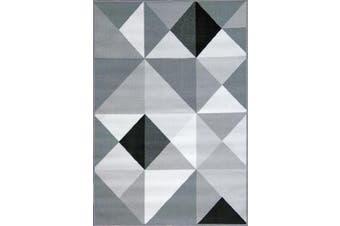 (50cm  x 150cm , Silver4) - ADGO Modern Contemporary Triangle Rubber-Backed Non-Slip Non-Skid Thin Area Rugs, Grey Black, 50cm x 150cm