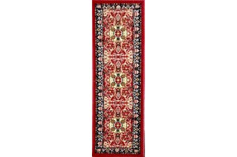 (0.6m x 2.1m, Ad12030 - Red) - ADGO Collection, Modern Contemporary Rectangular Design Rubber-Backed Non-Slip (Non-Skid) Area Rugs  Thin Low Profile Indoor/Outdoor Floor Rug (0.6m x 2.1m, AD12030 - Red)