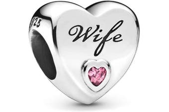 (Wife) - Love Heart Charm Collection Beads - Authenic S925 Sterling Silver Love Heart Family Collection with Cubic Zirconia Charms & Gift Pouch