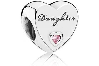 (Daughter) - Love Heart Charm Collection Beads - Authenic S925 Sterling Silver Love Heart Family with Pink or Clear Cubic Zirconia Charms - Free Gift Pouch