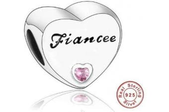 (Fiancee) - Love Heart Charm Collection Beads - Authenic S925 Sterling Silver Love Heart Family Collection with Cubic Zirconia Charms & Gift Pouch