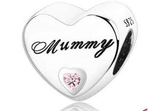 (Mummy) - Love Heart Charm Collection Beads - Authenic S925 Sterling Silver Love Heart Family Collection with Cubic Zirconia Charms & Gift Pouch
