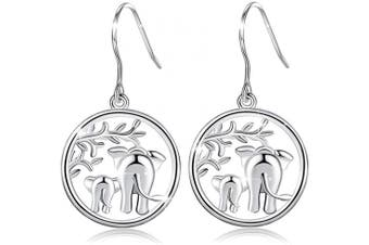 "(A:elephant Drop Earring) - Tree of Life Earrings for Women, AEONSLOVE 925 Sterling Silver Drop Dangle Earrings Celtic Knot Tree Elephants""Family Love"" Design Jewellery, Birthday Gift for Her"