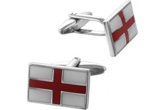 Code Red Men's St George Flag Red and White Enamel Base Metal Cufflinks