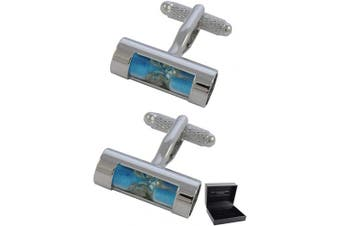 COLLAR AND CUFFS LONDON - Premium Cufflinks with Presentation Gift Box Hour Glass - Brass - Egg Timer Sand Time Measure - Blue Colour