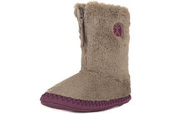 (7/8 UK, Moonrock Plum) - Bedroom Athletics Women's Monroe Faux Fur Slipper Boots