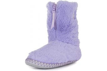 (7/8 UK, Lavender Trace Grey) - Bedroom Athletics Women's Monroe Faux Fur Slipper Boots