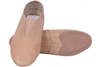 (10 UK Child) - Awans Leather Jazz Slip On Shoes, Split Sole Jazz Sneakers for Women Men, Tan/Pink Shade