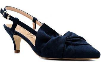 (3 UK, Blue) - Greatonu Women Shoes Bow Tie Kitten Heels Slingback Dress Pumps Court Shoes