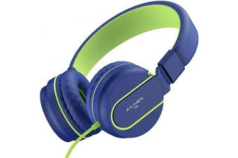 (Blue Green) - AILIHEN I35 Kid Headphones with Microphone Volume Limited Childrens Girls Boys Teens Lightweight Foldable Portable Wired Headsets 3.5mm for School Aeroplane Travel Cellphones Tablets (Blue Green)