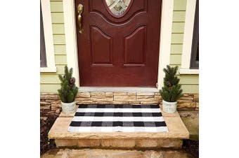 (60cm  x 90cm , Black & White) - Buffalo Plaid Rug - Black and White Cheque Door Mat Outdoor - Farmhouse Rugs for Kitchen/Bathroom/Front Porch/Decor - Layered Welcome Doormats - Chequered Flannel Cotton Entry Way Layering Mats 60cm x 90cm