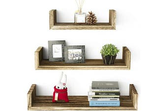 (1.carbonized Black) - SRIWATANA Floating Shelves Wall Mounted, Solid Wood Wall Shelves, Torched Finish