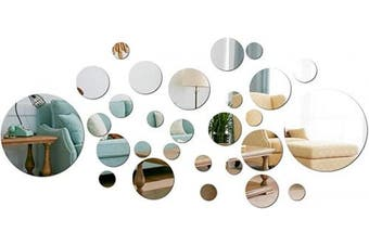 (Silver) - aooyaoo Solid Circle Wall Stickers Circle Mirror DIY Living Room/Bedroom/Decoration 28pcs Silver
