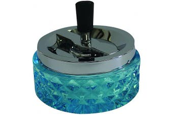 (Aqua Blue) - Hank Star 12cm Round Push Down Glass Ashtray with Spinning Tray ~ Choose Your Own Colour (Aqua Blue)