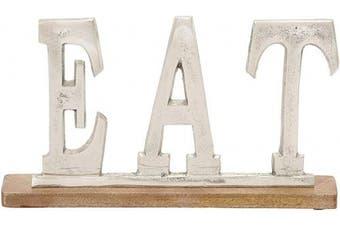Deco 79 37570 Trendy Metal Wood Eat, 36cm W x 20cm H