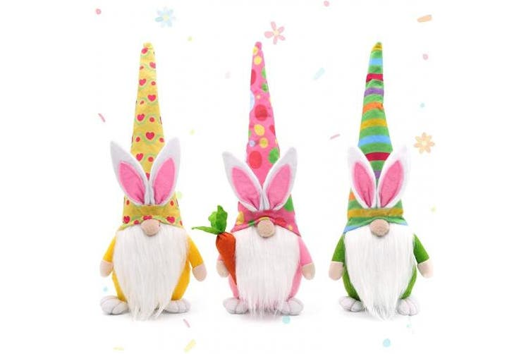 CiyvoLyeen Spring Gnomes Bunny Decor Easter Bunny Gnomes Easter Gifts Easter Decor Nordic Swedish Nisse Scandinavian Tomte Elf Dwarf Home Household Ornaments Set of 3