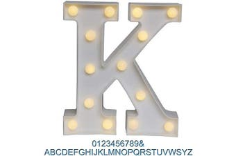 (K) - Ogrmar Decorative Led Light Up Number Letters, White Plastic Marquee Number Lights Sign Party Wedding Decor Battery Operated (K)