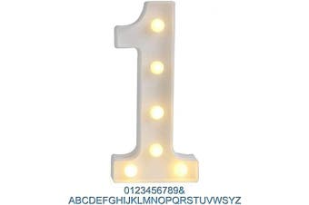 (1) - Ogrmar Decorative Led Light Up Number Letters, White Plastic Marquee Number Lights Sign Party Wedding Decor Battery Operated (1)