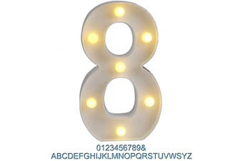 (8) - Ogrmar Decorative Led Light Up Number Letters, White Plastic Marquee Number Lights Sign Party Wedding Decor Battery Operated (8)
