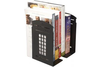 (Black) - Winterworm Vintage Fashion British Style London Telephone Booth Kiosk Decorative Iron Metal Bookends Book End Book Organiser for Library School Office Desk Study Home Decoration Gift (Black)