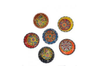 (Multi1) - Ayennur Decorative Turkish Ceramic Bowl Set of 6 Serving Plate-Handcrafted Pinch Multicolor Finger Small Serving Bowls