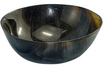 """(4""""w x 2"""" Depth) - Mythrojan Hand Crafted Small Serving Horn Bowl – Polished Finish"""