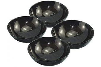 """(4""""w x 2"""" Depth (Set of 4)) - Mythrojan Hand Crafted Small Serving Horn Bowl – Polished Finish"""
