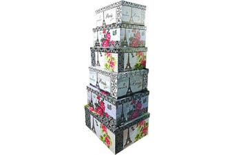(Eiffel Tower) - ALEF Elegant Decorative Themed Nesting Gift Boxes -6 Boxes- Nesting Boxes Beautifully Themed and Decorated - Perfect for Gifts or Simple Decoration Around The House! (Eiffel Tower)