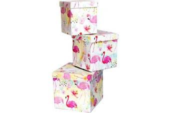 (Sq Flamingos) - ALEF Elegant Decorative Themed Nesting Gift Boxes -3 Boxes- Nesting Boxes Beautifully Themed and Decorated! (Sq Flamingos)