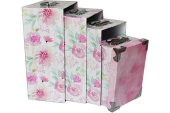 (Pink Floral W/ Metal Corners&handles) - ALEF Elegant Decorative Themed Nesting Gift Boxes -6 Boxes- Nesting Boxes Beautifully Themed and Decorated! (Pink Floral W/Metal Corners & Handles)