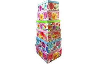(English Garden) - ALEF Elegant Decorative Themed Nesting Gift Boxes -6 Boxes- Nesting Boxes Beautifully Themed and Decorated - Perfect for Gifts or Simple Decoration Around The House! (English Garden)