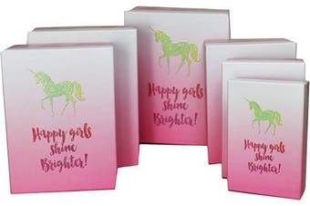 (Unicorn W/ Varnish) - ALEF Elegant Decorative Themed Nesting Gift Boxes -6 Boxes- Nesting Boxes Beautifully Themed and Decorated!