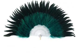 (Black Green-white Rib) - BABEYOND Roaring 20s Vintage Style Peacock & Black Marabou Feather Fan Flapper Accessories for Costume Halloween Dancing Party Tea Party Variety Show (Black Green-White Rib)