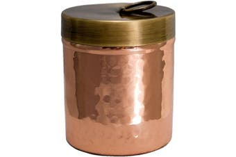 Alchemade Premium Quality Hammered Copper Spice Jar with Brass Lid - 100% Pure Heavy Gauge Copper Cotton Swab Ball Holder