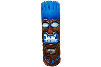 All Seas Imports 50cm Handcarved Wood Blue Flame Tiki Mask with Gorgeous Colour Tropical Hawaiian Design!